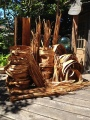 Western red cedar bark drying on the back deck